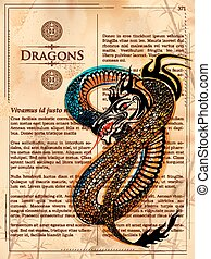 Furious Dragon drawing on old vintage book page