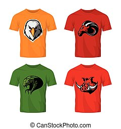 Furious eagle, ram, snake and boar sport vector logo concept set isolated on white.