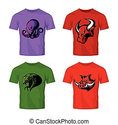 Furious octopus, bull, snake and boar sport vector logo concept set isolated on white.