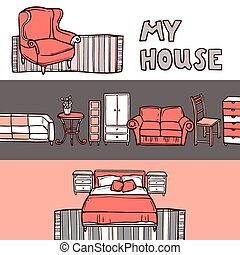 Furniture horizontal banner sketch set with house accessories isolated vector illustration