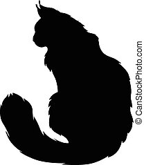 Vector illustrations of silhouette of black furry cat