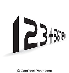 futuristic alphabet font numbers- illustration