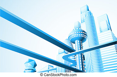 Abstract illustration of a futuristic cityscape or skyline