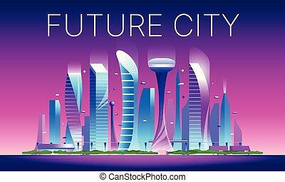 Futuristic night cityscape 02