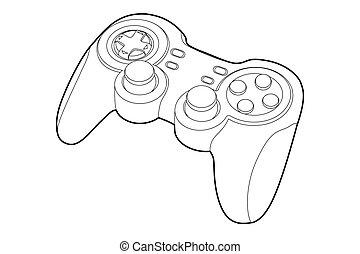 Black outline gamepad on white bakcground (vector illustration)