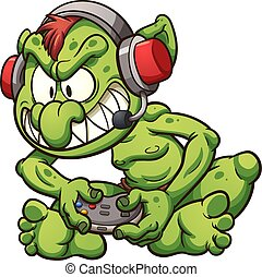 Cartoon gamer troll playing video games. Vector clip art illustration with simple gradients. Troll, nose and microphone on separate layers.