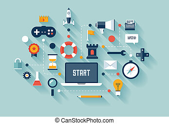 Flat design vector illustration infographic concept with icons set of gamification strategy in business, new trend in social media marketing, and other lifestyle industry innovation. Isolated on stylish colored background.