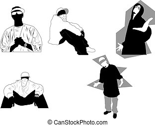 Gangsta poses and attitudes. Ideal for street and/or hip hop oriented design, files in eps format compatible illustrator 8.
