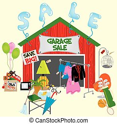 Garage sale or yard sale with all sorts of items for sale