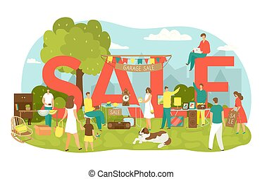 Garage sale in yard with lettering sale vector illustration. People buy and sell housewares, clothing, sporting goods and toys. Old vintage objects and furniture garage sale at flea market.