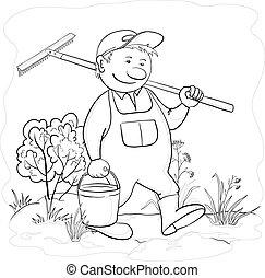 Vector, man gardener with a bucket and a rake work in a garden, contours