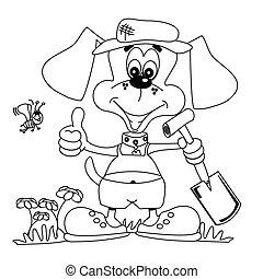 Gardening dog colouring book