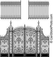 Wrought iron gate and fences full of swirled decorations