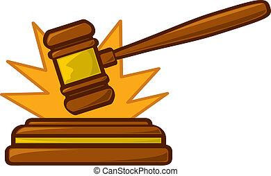 A cartoon judge's gavel striking a sounding block.