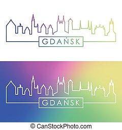 Gdansk skyline. Colorful linear style.