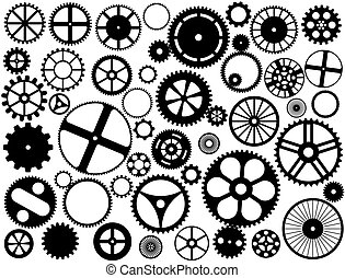 Various style and size gears, cogs and wheels silhouettes