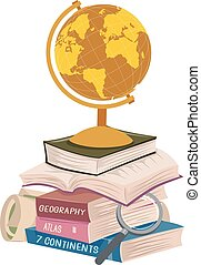 Geography Books Stack Long Reading Illustration