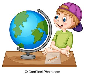 Boy looking at the globe