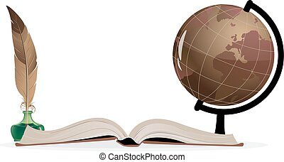 Open book, globe and feather on a white background