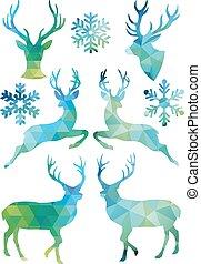 Geometric Christmas deer, vector