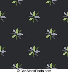 Geometric flowers abstract seamless pattern. Dark background, blue and green elements. Simple design.