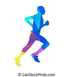Geometric runner. Vector silhouette