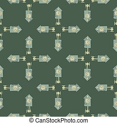 Geometric seamless pattern with abstract blue cuckoo clock ornament. Green dark background. Simple style.