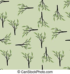 Geometric seamless pattern with green leaves branches ornament. Grey background. Simple design.