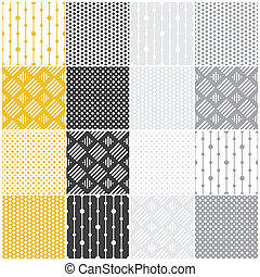 set of 16 seamless patterns with dots, squares and lines, vector illustration