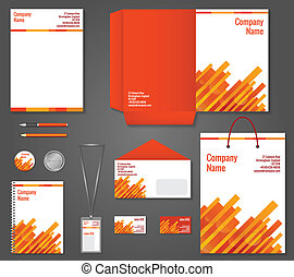 Red and orange geometric technology business stationery template for corporate identity and branding set vector illustration