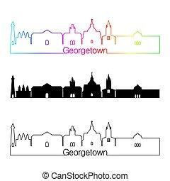 Georgetown skyline linear style with rainbow