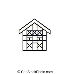 German house linear icon concept. German house line vector sign, symbol, illustration.