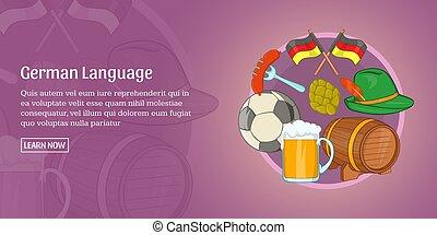 German language banner horizontal, cartoon style