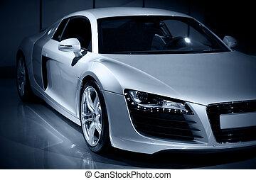 german luxury sport car, blue toned version