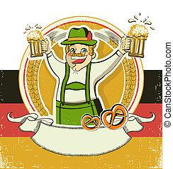 German man and beers. Vintage oktoberfest symbol on old paper background