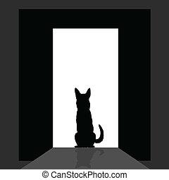 german shepard at the door silhouette art vector