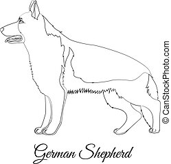 German shepherd cartoon dog outline