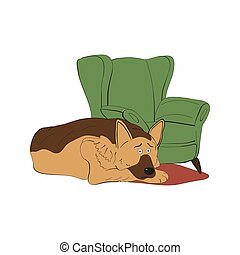 german shepherd dog breed vintage illustration
