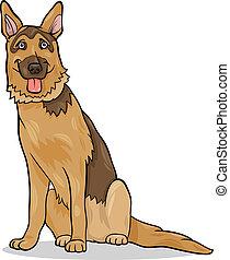 Cartoon Illustration of Funny German Shepherd Purebred Dog