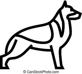 german shepherd dog line icon vector illustration