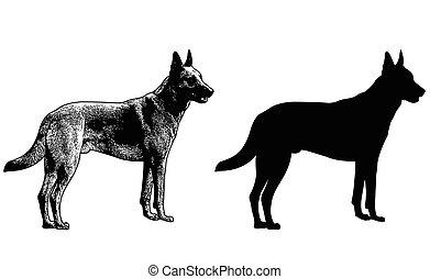 german shepherd dog silhouette and sketch illustration