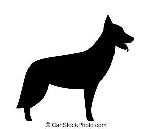German shepherd dog silhouette. Black and white vector illustration.