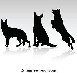 german shepherd dog vector silhouettes