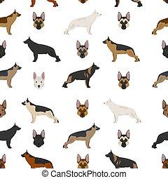German shepherd dogs in different colors. Shepherd characters seamless pattern