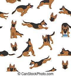 German shepherd dogs in different poses. Shepherd characters seamless pattern