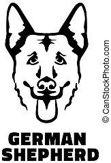 German Shepherd head black and white