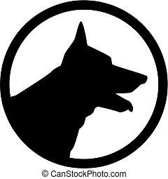 German Shepherd head in a circle