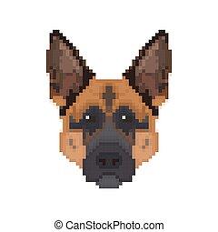 German Shepherd head in pixel art style.