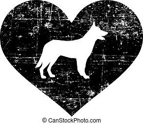 German Shepherd heart black