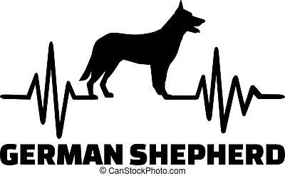 German Shepherd heartbeat with silhouette